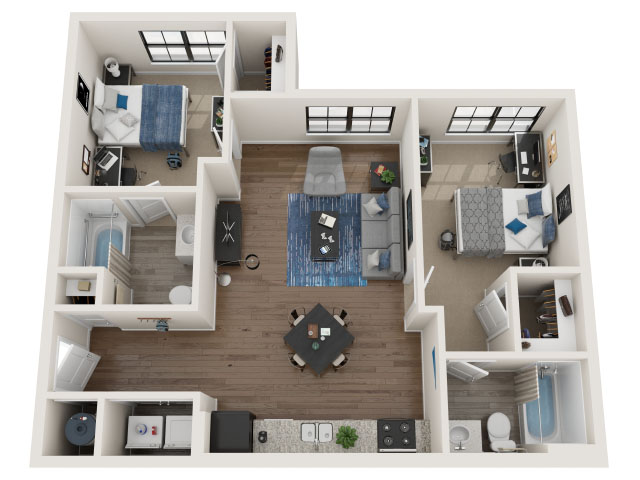 2 BR / 2 BA-2.1 Floor plan layout