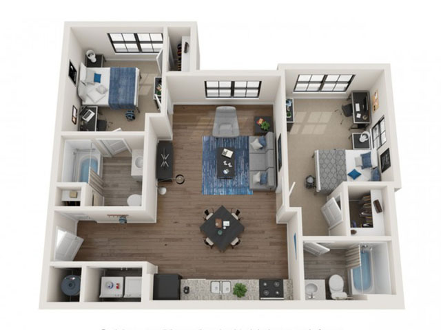 2 BR / 2 BA-2.2 Floor plan layout