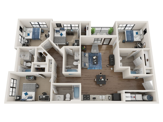4 BR / 4 BA-4.1 Floor plan layout