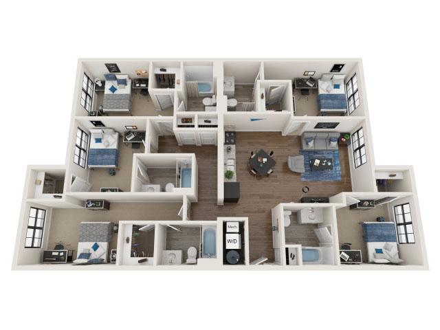 5 BR / 5 BA-5.1 Floor plan layout